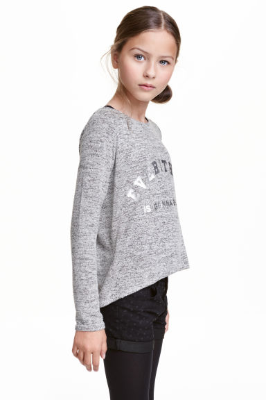 Fine-knit printed jumper - Grey marl - Kids | H&M CN 1
