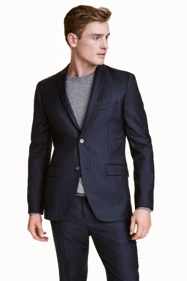 Blazer in lana Slim fit - Blu scuro/righe - UOMO | H&M IT 1