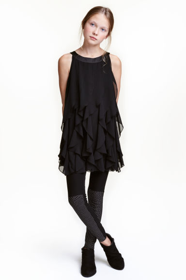 Frilled dress - Black - Kids | H&M CN 1