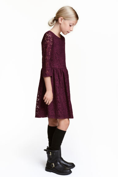 Lace dress - Burgundy - Kids | H&M CN 1
