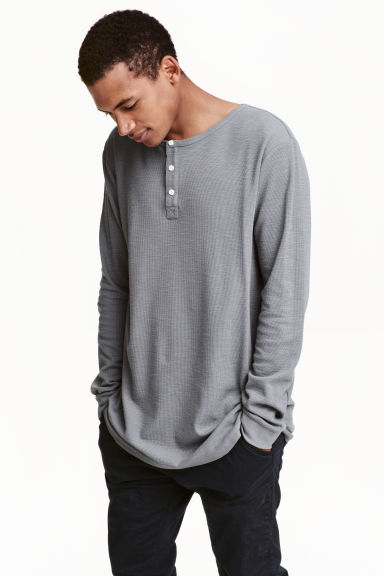 Henley shirt - Grey - Men | H&M CN 1