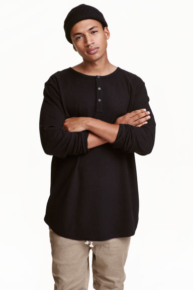Henley shirt - Black - Men | H&M CN 1