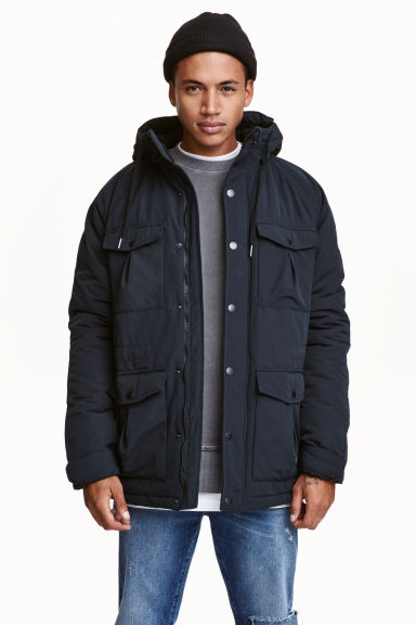 Padded parka - Dark blue - Men | H&M CN 1