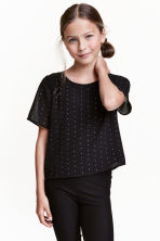 Studded chiffon top - Black - Kids | H&M CN 1