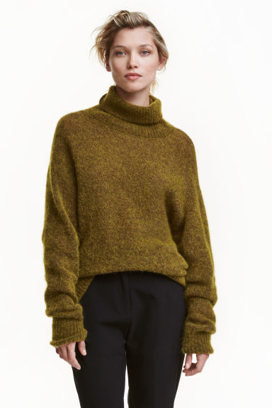 Mohair-blend polo-neck jumper - Olive green marl -  | H&M 1