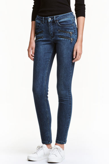 Slim Biker Jeans - Dark denim blue - Ladies | H&M CN 1