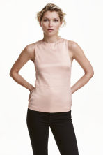 Sleeveless satin blouse - Powder - Ladies | H&M CN 1