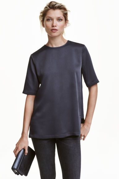 Satin top - Dark grey -  | H&M CN 1