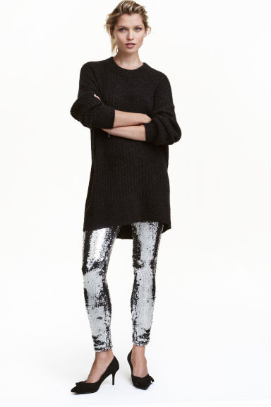 Sequined leggings - Silver -  | H&M CN 1