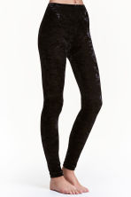 Crushed velvet leggings - Black - Ladies | H&M CN 1