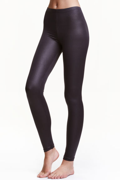Coated leggings - Dark grey - Ladies | H&M CA 1