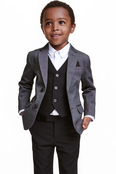 Piqué jacket - Black marl - Kids | H&M CN 1