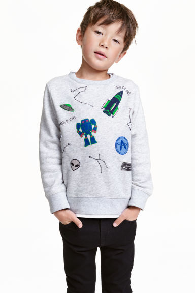 Printed sweatshirt - Light grey/Space - Kids | H&M CN 1
