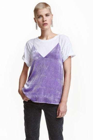 V-neck strappy top - Purple - Ladies | H&M GB 1