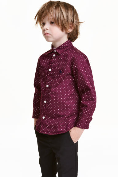Cotton shirt - Burgundy/Spotted - Kids | H&M CN 1