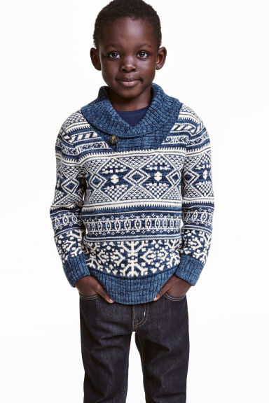 Shawl-collar jumper - Blue/Patterned - Kids | H&M CN 1
