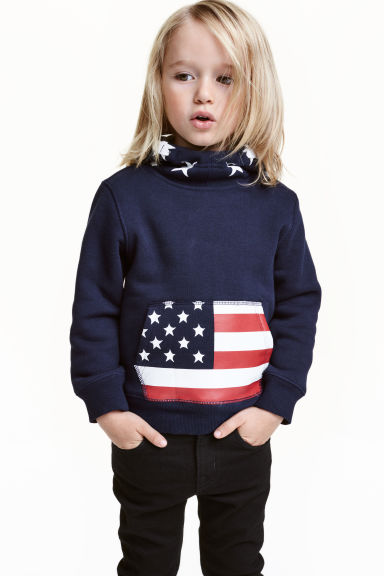 Printed hooded top - Dark blue - Kids | H&M CN 1