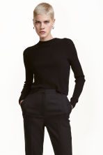 Ribbed wrapover jumper - Black - Ladies | H&M CN 1