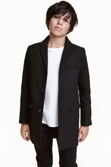 Wool-blend coat - Black -  | H&M CN 1