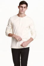Jersey Henley shirt - Natural white - Men | H&M CN 1