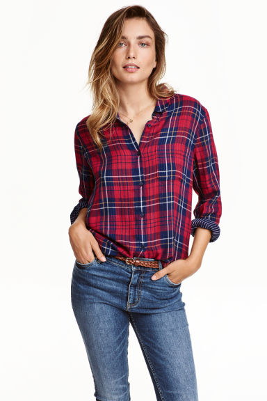 Shirt - Red/Checked - Ladies | H&M CN 1