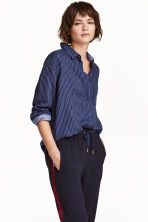 Camicia in cotone - Blu scuro/righe - DONNA | H&M IT 1