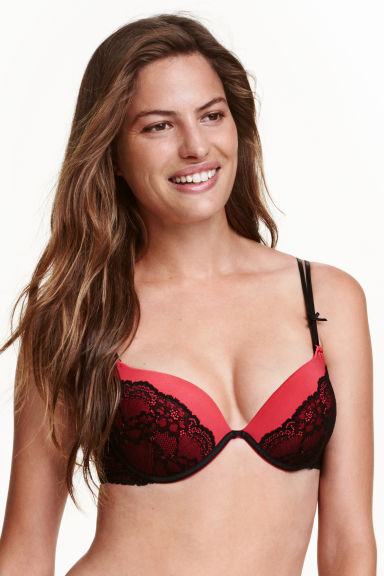 Microfibre super push-up bra - Red/Black - Ladies | H&M 1