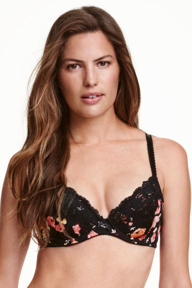 Microfibre push-up bra - Black/Floral - Ladies | H&M CN