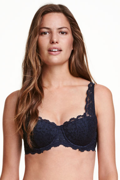 Lace balconette bra - Dark blue - Ladies | H&M CN 1