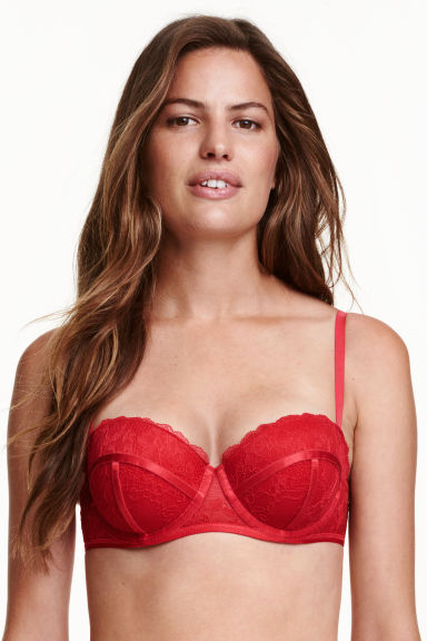 Lace balconette bra - Red - Ladies | H&M CN 1