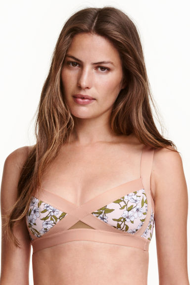 Bikini top - Powder pink/Floral - Ladies | H&M