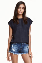 Short-sleeved blouse - Dark blue - Ladies | H&M CN 1