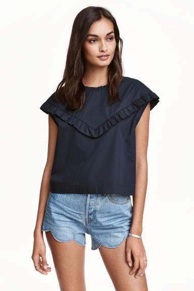Cotton blouse with frills - Dark blue - Ladies | H&M CN 1