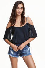 Off-the-shoulder top - Dark blue - Ladies | H&M CN 1
