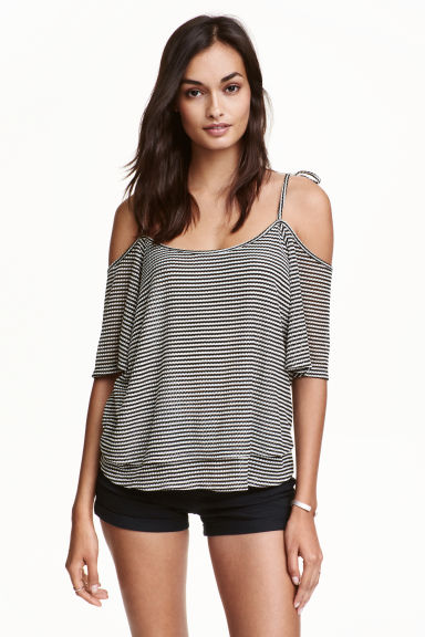 Off-the-shoulder top - Black/White/Striped - Ladies | H&M CN 1