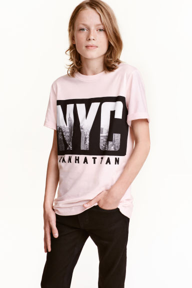 Printed T-shirt - Light pink/New York - Kids | H&M CN 1