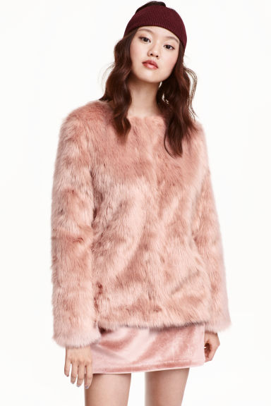 Faux fur jacket - Old rose - Ladies | H&M GB