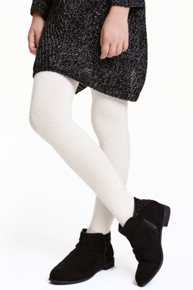Tights with sparkly stones - White - Kids | H&M CN 1