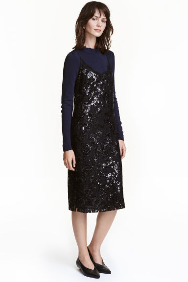 Abito in pizzo con paillettes - Nero - DONNA | H&M IT 1