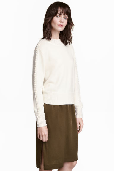 Pullover in lana con perline - Bianco naturale - DONNA | H&M IT 1