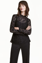 Lace peplum top - Black - Ladies | H&M CN 1