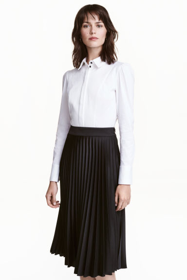 Stretch shirt with a bib front - White - Ladies | H&M CN 1
