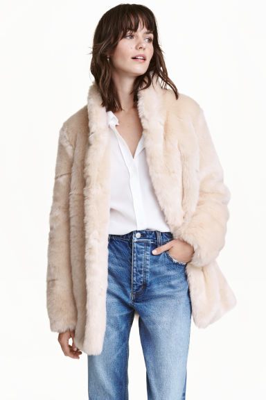 Faux fur jacket - Light beige - Ladies | H&M CN 1