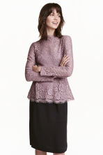 Lace peplum top - Heather purple - Ladies | H&M CN 1