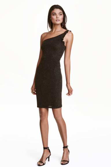 One-shoulder dress - Black/Gold - Ladies | H&M CN 1
