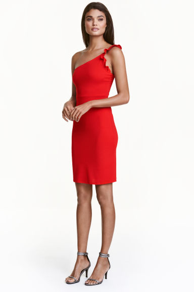 One-shoulder dress - Red - Ladies | H&M CN 1