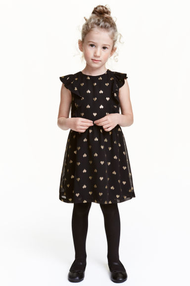Patterned chiffon dress - Black/Heart - Kids | H&M CN 1