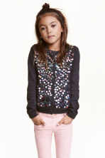 Cotton cardigan with sequins - Dark grey - Kids | H&M CN 1