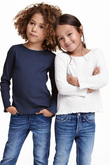 2-pack pointelle tops - Dark blue - Kids | H&M CN 1