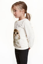 Plush top - White/Cat - Kids | H&M CN 1